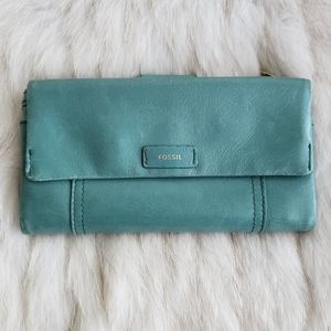 Fossil Green Blue Leather Distressed Wallet